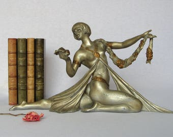 Large. Captivating Vintage French Art Deco Statuette from the 1930s, signed Limousin