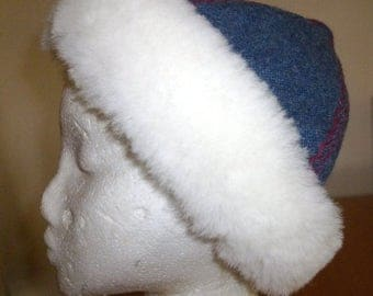 Viking 4 panel hat/skull cap. In blue wool with sheepskin trim