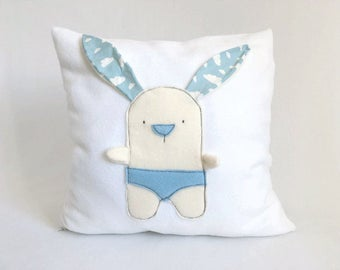 nursery white throw pillow bunny fun pillow cover nursery fun decorative pillow cover