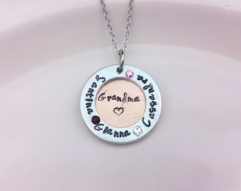 Mother's necklace / Grandmother necklace / Name necklace / Birthstone necklace / Personalized hand stamped necklace