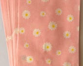 """SALE Kawaii Small Flat Paper Bags """"Daisy"""" in Light Pink No Gusset. Made in Japan  10 Bags"""
