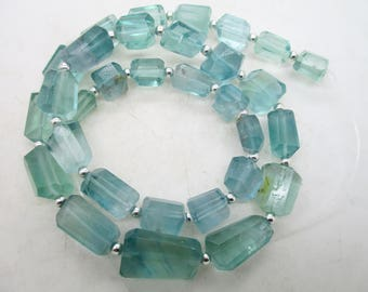 16'' Stunning Chunky open blue nugget shaped polished faceted  flourite beads Afghanistan F79