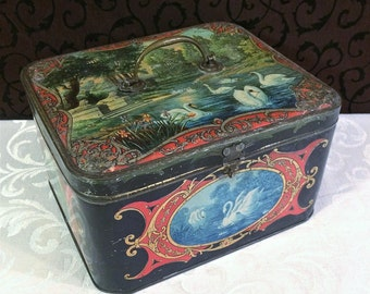 Gorgeous Large Antique Tin Box, Swans and Butterflies, Sphinxes, Vintage French Biscuit Tin, Biscuits Jean Barte of Dunkerque, c 1910s