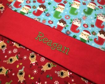 Personalized pillowcase, christmas pillowcase, gingerbread