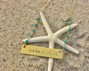 Make Waves Hand Stamped Necklace - Turquoise Gold Bar Necklace - Beach Jewelry - Mermaid - Sea Ocean Inspired - graduation gift