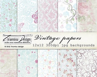 ON SALE Scrapbook Papers and Digital Paper Pack 24