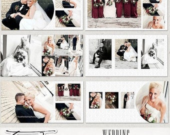 ON SALE 10x10 Wedding Album Templates, Wedding Photobook Photoshop psd Templates