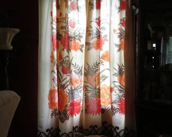 Bold Vintage Retro Set of Curtains/Bright Flowers/Open Weave-Red, Orange, Brown Cream-Made in Turkey