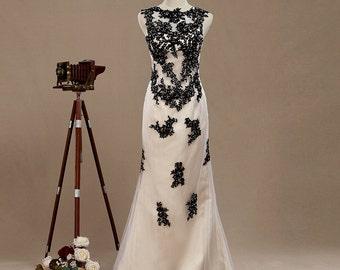 2017 Lace Applique Bridesmaid dress, Tulle Wedding dress, column Party dress, Lace Wedding dress, Womens Formal Evening dress floor length