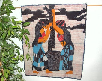 Chinese Maidens Batik Making - Wall Hanging made from Vintage Chinese Batik from Guizhou Province