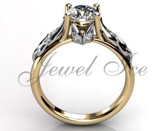 Floral Engagement Ring 14k Yellow and White Gold Diamond Unique Floral Engagement Ring Anniversary Ring  Bridal Ring Wedding Ring ER-1047-7