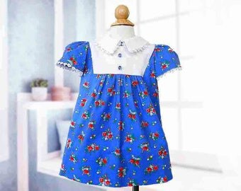 Toddler Dress, Size 2, Special Occasion, Party, Vintage, Classic, Blue Dress, Floral Dress