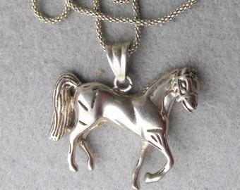 Vintage Sterling Silver Horse Pendant Necklace