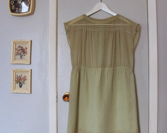 1970s pistachio green polka dot sleeveless dress