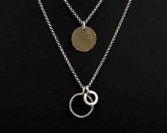 Sterling Silver and 14K Gold Filled Layered Necklace Set - Sterling Silver Charm Pendant - Gold Filled Hammered Disc Charm