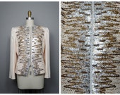 Vintage Bill Blass Beaded Sequined Blazer // Art Deco Gold and Silver Sequin Embellished Ivory Evening Jacket - as is