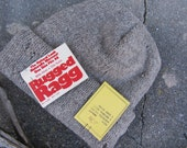70s NOS Grey Rugged Ragg Wool Knit Beanie, One Size // Vintage Deadstock Winter Hat