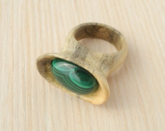 Wooden ring, wood ring, inlaid ring, men wood ring, women wood ring, unique ring, pinewood ring, malachite ring, hand carved ring