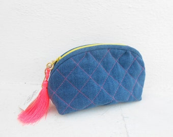 Quilted Denim Neon Make Up Bag,Cosmetic Bag,Gift idea