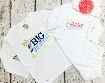 Baby sister, big brother, big sister, little brother, sibling set, big little shirts, big brother shirt, little sister, brother sister set
