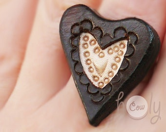 Handmade Adjustable Leather Heart Ring, Heart Ring, Leather Ring, Brown Leather Ring, Women's Leather Ring, Boho Ring, Gift For Her, Hippie
