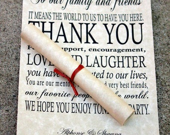Wedding Thank You Scrolls, Thank You scrolls, wedding day thank you cards, thank you place cards, Scrolled thank you notes, Set of 100