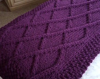 Ready to Ship! Lattice Cable Knit Blanket- Wool