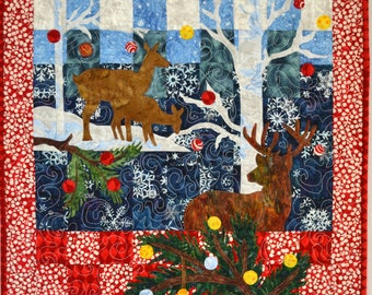 Winter Quilt  Christmas Quilt   Deer In Snow   Fiber Art   Pam George Quilts  Small Wall Quilt  Holiday Quilt