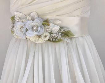 Lace And Floral Bridal Sash-Wedding Sash In Ivory With Swarovski Crystals And Pearls, Flower Sash, Bridal Belt