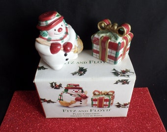 Fitz and Floyd Plaid Christmas Salt and Pepper Shakers