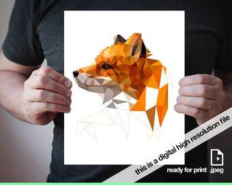 Fox Print Fox Digital Print Nursery Animal digital Animal Wall Art Printable animal Printable wall art Woodland Decor Fox Printable Ginger