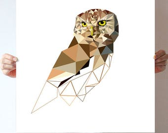 Large owl art, geometric illustration, brown color, triangles print, art poster, nature print, modern wall, geometric owl, low style