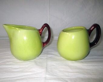 1955 Hull Pottery DEBONAIR Sugar Bowl and Creamer, Chartreuse & Maroon O-14, O-15