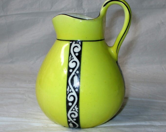 1920s Cream Milk Pitcher, Yellow, Black Ribbon Trim, Coronet, Czechoslovakia