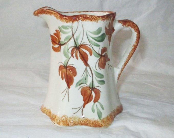 """Cash Family 4"""" Hand-Painted Pitcher / Vase Brown Floral Design (Erwin, TN), c. 1960s"""