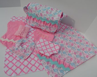 Deluxe Doll Diaper Bag Set For Baby Alive, Bitty Baby, Baby Stella, Cabbage Patch Baby & More, Toy Diaper Bag Set, Toy, Big Sister Gift