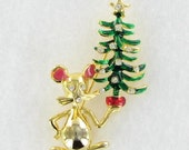 Adorable Mouse holding a Christmas Tree pin brooch pink red green enamel gold tone clear rhinestones