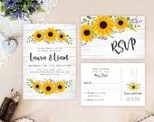 Sunflower wedding invitat...