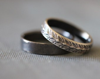 SARA: Wedding Rings, Set, Wedding Bands, Sterling Silver, Botanical, Wheat, Modern, Minimal, His and Hers, Rustic, Bohemian,  Made To Order