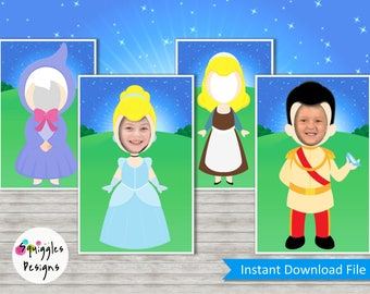 Cinderella Photo Booth Props (includes Cinderella, Fairy Godmother & Prince Charming) - Digital Files