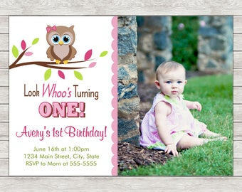 Owl Girl Birthday Invitation, Pink Owl Invite, Girl Owl - Printable File or Printed Invitations
