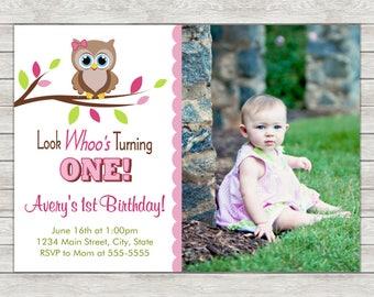 Owl Girl Birthday Invitation, Pink Owl Invite, Girl Owl - Printable File or Printed Invitations