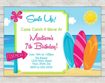Surf Birthday Invitation, Surfing Surfer Girl Invite - Printable File or Printed Invitations