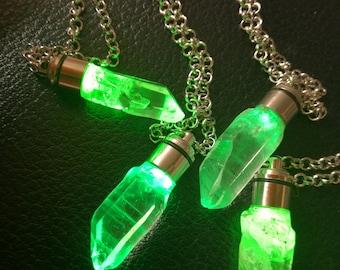 Kryptonite superman crystal pendant with light DC inspired