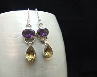 Amethyst & Citrine Silver Dangle Earrings