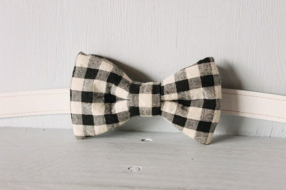 Bow tie unisex >> Black, white gingham bow, leather strap, buckle >> Brisbane