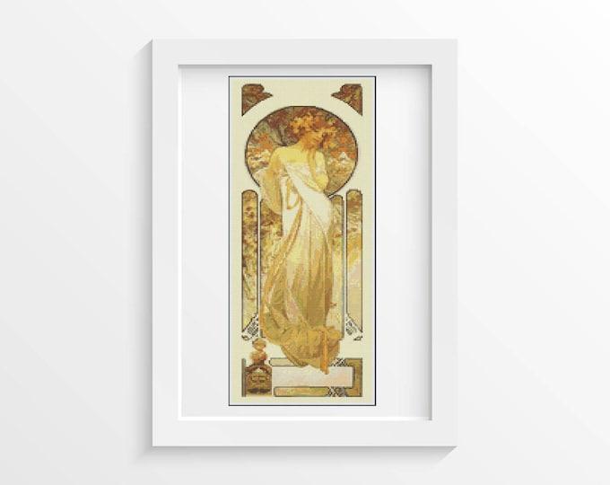 Cross Stitch Pattern PDF, Embroidery Chart, Art Cross Stitch, Woman Cross Stitch, Lady Sylvanis Essence by Alphonse Mucha (MUCHA18)