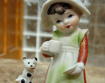 Little Country Girl With Cup & Saucer Feeding Kittens Figurine Vintage
