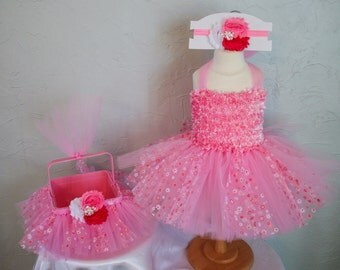 Girls Pink Flower Easter Tutu Dress with Easter Basket & Headband