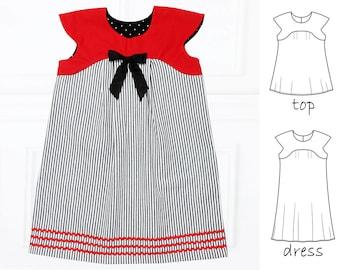 Childrens Sewing Pattern pdf, Girls Dress pattern pdf, Girls Top Pattern, Easy sewing pattern, Clothing pattern, Tunic Pattern, JASMINE